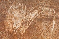 Pegadas manchadas no aço oxidado velho imagem de stock