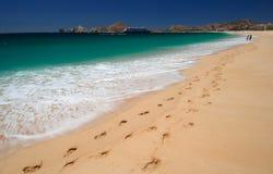 Pegadas na areia em Cabo Imagens de Stock