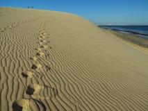 Pegadas na duna Foto de Stock Royalty Free