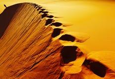Pegadas na duna de areia Fotos de Stock
