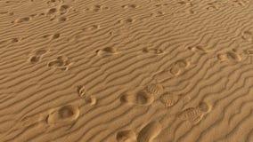 Pegadas na duna de areia, grões de areia, Corralejo, parque natural Fuerteventura Imagem de Stock Royalty Free