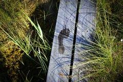 Pegadas na passagem de madeira Imagem de Stock Royalty Free