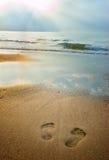 Pegadas na praia no crepúsculo Foto de Stock