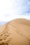 Pegadas no fundo da duna de areia das montanhas imagem de stock
