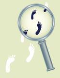 Pegadas sob o vidro do magnifier Imagens de Stock