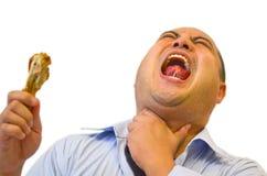 Pegado en la garganta (dolor severo) Fotos de archivo libres de regalías