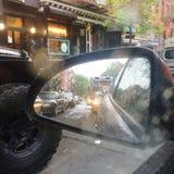 Pegado en tráfico en la lluvia Fotografía de archivo