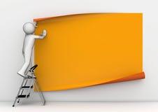 Pegar el cartel anaranjado en blanco Imágenes de archivo libres de regalías