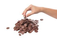 Pegarando o botão II do chocolate Fotografia de Stock Royalty Free