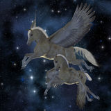 Pegasus 04. A Palomino Pegasus mare and foal fly among the stars on magical wings Stock Image
