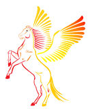 Pegasus. Risen on racks and spread wings pegasus vector illustration