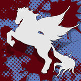 Pegasus. Abstract illustration, silhouette horse on blue and red Royalty Free Stock Photo