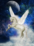 Pegasus. In the sky with clouds