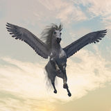 Pegasus 2. The fabled creature of myth and legend, the white Pegasus, flies with beautiful wings Royalty Free Stock Photography