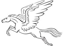 Pegasus. Black and white line art image of a winged horse Pegasus Stock Images