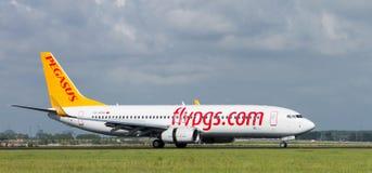 Pegasus Air. Landing on Schiphol Airport Stock Photo