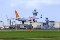 Pegasus Airbus A320. Landing at Amsterdam Airport Schiphol Royalty Free Stock Image