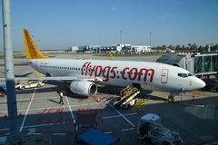 Pegasus airlines aircraft in Vaclav Havel Prague Airport stock images