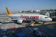 Pegasus airlines aircraft in Vaclav Havel Prague Airport royalty free stock photo