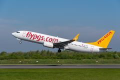 Pegasus airlines Boeing 737 departing Manchester airport. MANCHESTER, UNITED KINGDOM - MAY 07, 2018: Pegasus airlines Boeing 737 departing Manchester airport royalty free stock images