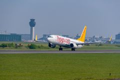 Pegasus airlines Boeing 737 departing Manchester airport. MANCHESTER, UNITED KINGDOM - MAY 07, 2018: Pegasus airlines Boeing 737 departing Manchester airport stock photo