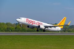 Pegasus airlines Boeing 737 departing Manchester airport. MANCHESTER, UNITED KINGDOM - MAY 07, 2018: Pegasus airlines Boeing 737 departing Manchester airport stock photography