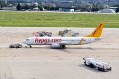 Pegasus Airplane prepared for next flight. A Pegasus airplane Boing 737 is prepared for the next flight from Stuttgart Airport Stock Photography