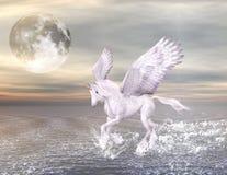 Pegasus auf einem wundervollen Meerblick lizenzfreie abbildung