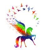 Pegasus begrepp av inspiration Arkivfoto