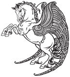 Pegasus black and white Royalty Free Stock Images