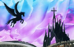 Pegasus boven ruïnes royalty-vrije stock afbeelding