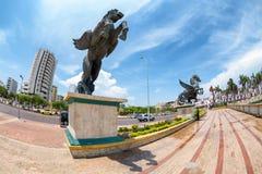 Pegasus in Cartagena. Fisheye view of Pegasus statues in Cartagena, Colombia Stock Photo