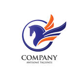 Pegasus with circle logo concept Royalty Free Stock Photo