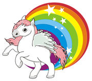 Pegasus with circle rainbow Stock Photos
