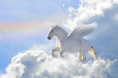 Pegasus in the clouds stock illustration