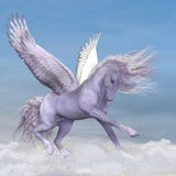 Pegasus among the Clouds. Silver white Pegasus plays and frolics among fluffy cumulus clouds Stock Photo