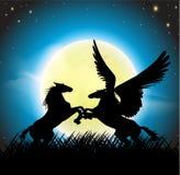 Pegasus com cavalo do mustang ilustração stock