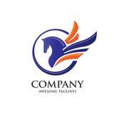 Pegasus com conceito do logotipo do círculo ilustração stock