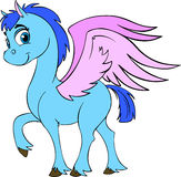 Pegasus. Cute blue horse with pink wings and big eyes. Pegasus Stock Image