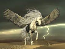 Pegasus en Donkere Hemel Royalty-vrije Stock Foto