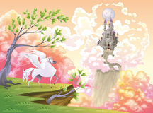Pegasus en mythologisch landschap. Stock Afbeeldingen