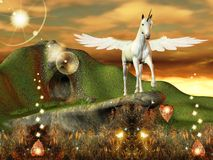 Pegasus in an enchanted world. An incredible illustration: pegasus in an enchanted, marvelous world Stock Photo