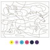 Pegasus för färgläggningflygenhörning pussel Royaltyfri Bild