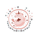 Pegasus Fairy Tale Character Girly Sticker In Round Frame Royalty Free Stock Photos