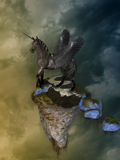 Pegasus. Fantasy Landscape with pegasus and floating island Stock Images