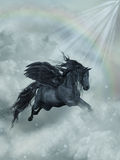 Pegasus. Fantasy Landscape with pegasus in the heaven Stock Photo