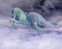 Pegasus Galloping through Storm Clouds. Pegasus the Flying Horse of Greek Mythology galloping through storm clouds, 3d digitally rendered illustration Stock Photo