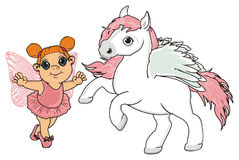 Pegasus with a girl Stock Images