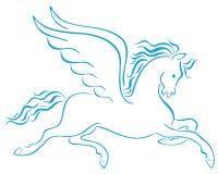 Pegasus ha traversato le siluette volando dei cavalli Immagine Stock