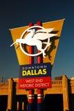 Pegasus het welkom heten teken in Dallas Texas Stock Afbeeldingen